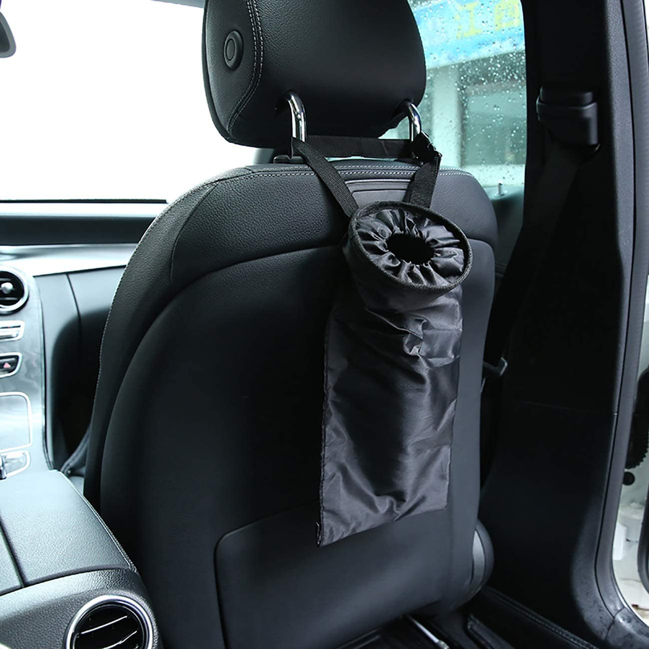 Uheng Car Trash Bags Car Trash Can Washable Eco-Friendly Seat Back Hanging Car Vehicle Headrest Garbage Litter Rubbish Bag for Travelling Outdoor Home Black, 2Pack