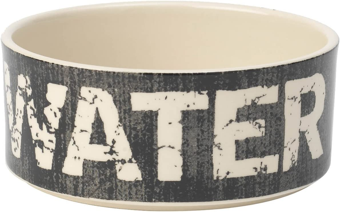 PetRageous 10003 Vintage Stoneware Dog Water Bowl with 3.5-Cup Capacity 6-Inch Diameter by 2.5-Inch Tall Great for Medium and Large Sized Dogs and Cats, Black and Natural, One Size