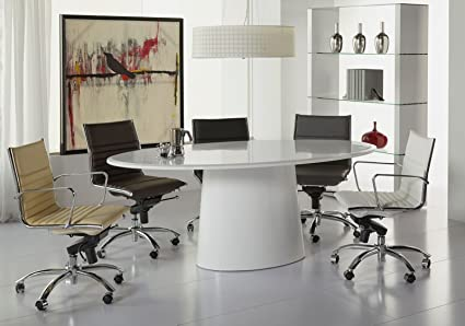 Amazoncom Modern White Lacquer Oval Conference Table Or - White oval conference table