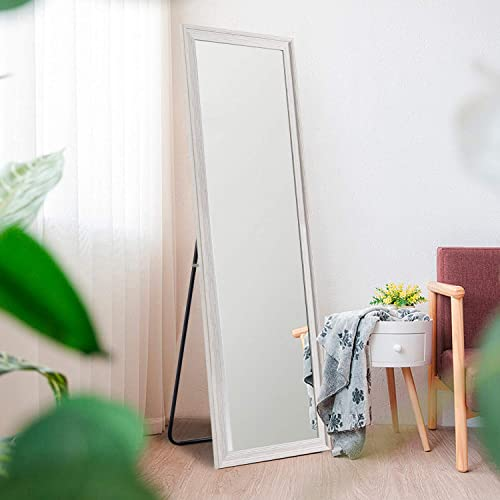 Elevens Freestanding Full Length Floor Mirror 65 x 22 Large Rectangle Style Wall Decor Mirror Ivory