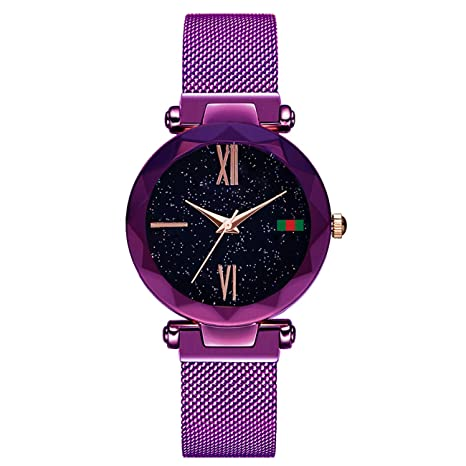 Hannah Martin SMAEL Electronic Magnetic Waterproof Watches Relojes de Pulsera para Mujeres,purpleD5greenlabel