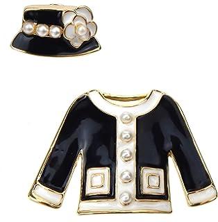Ella Jonte Brosche schwarz Gold weiß Kostüm Jacke Hut Set mit 2 Broschen  Retro fcf022c7ec