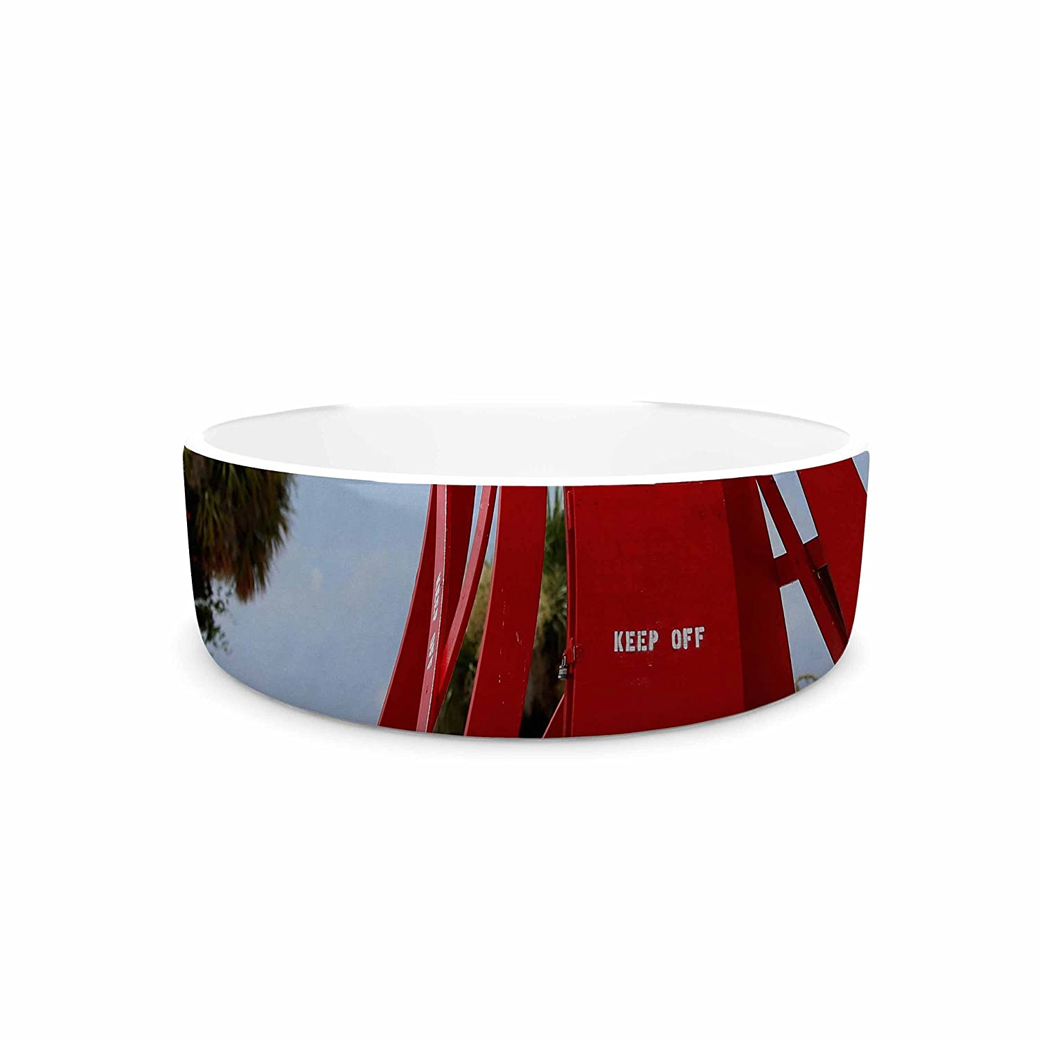 7\ KESS InHouse Angie Turner Keep Off  Red bluee Pet Bowl, 7