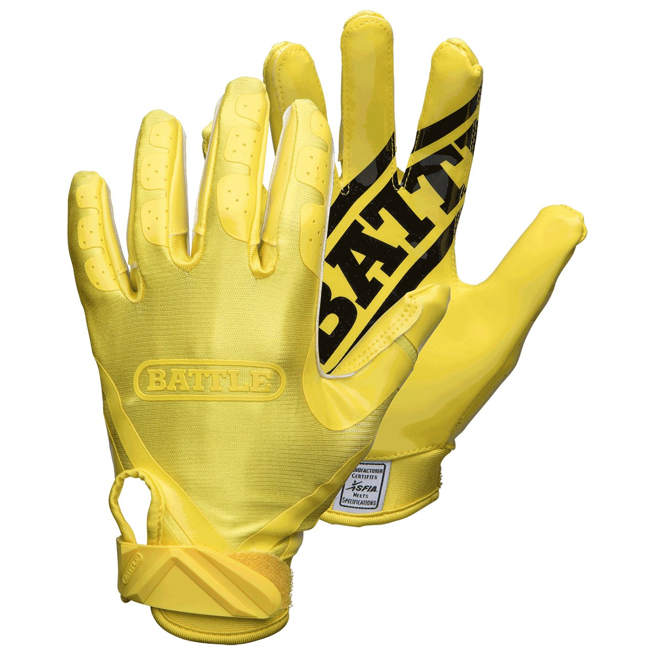 Battle Double Threat Adult Football Gloves, Yellow/Yellow, Small