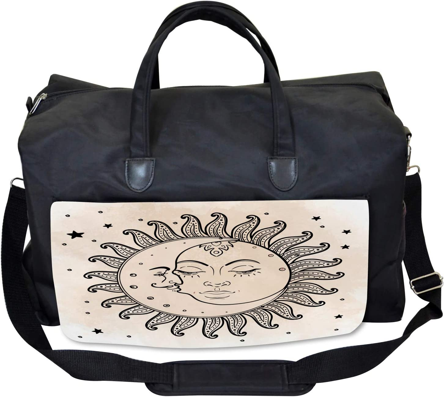 Ambesonne Gym Bag Sun and Moon Mystical Large Weekender Carry-on
