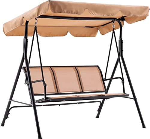 MCombo Outdoor Patio Canopy Swing Chair 3-Person, Steel Frame Textilence Seats Swing Glider, 4507 Beige
