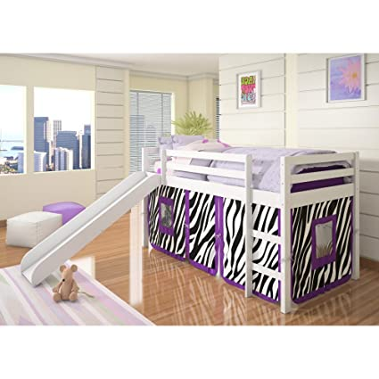 Amazon.com: Donco Kids Twin Loft Tent Bed with Slide - White ...
