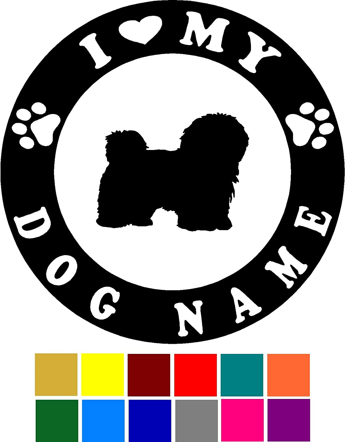 Choose Color V and T Gifts I Love My Havanese Dog Name Custom Decal