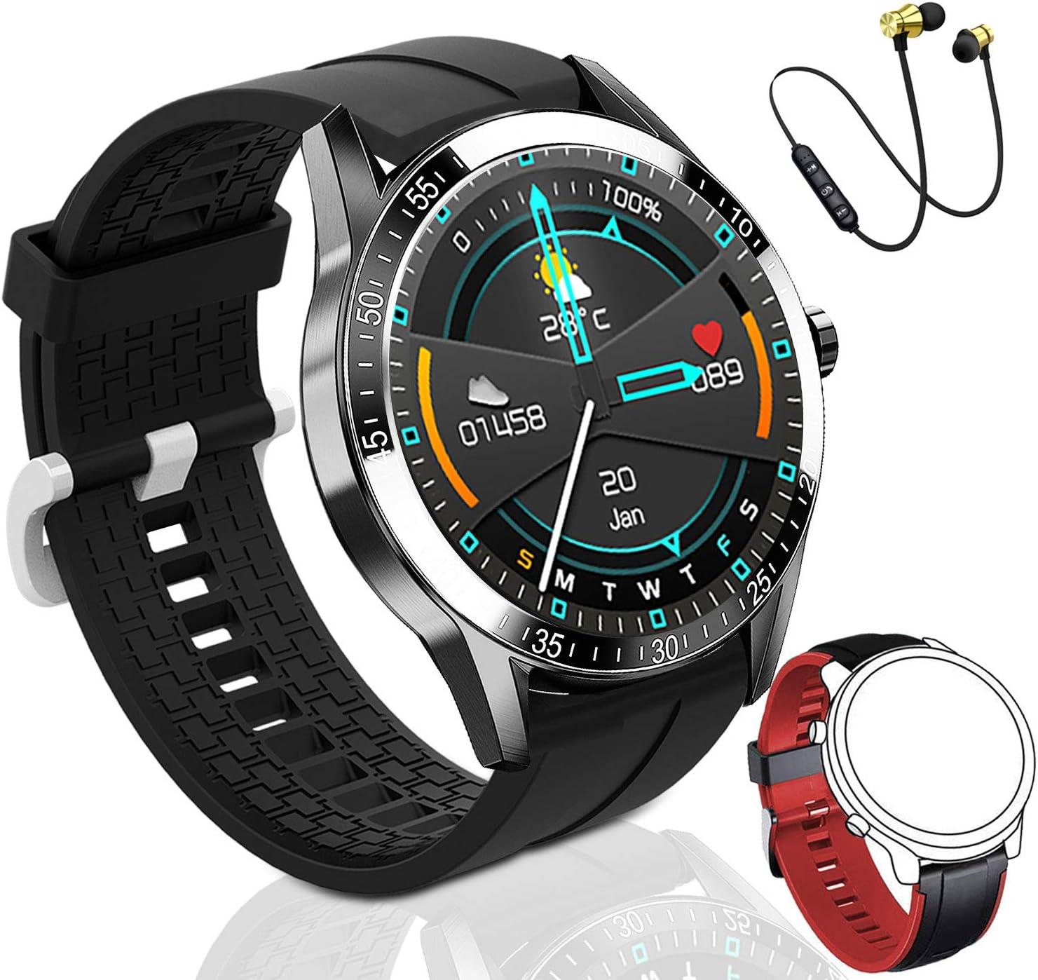 Reloj Inteligente Hombre, Smartwatch Mujer   2021 última versión   168 MB ROM   IP68 Impermeable con micrófono Altavoz, dial Llamada, música, Modos Deportivos y de Salud (2correas Negro y Naranja)