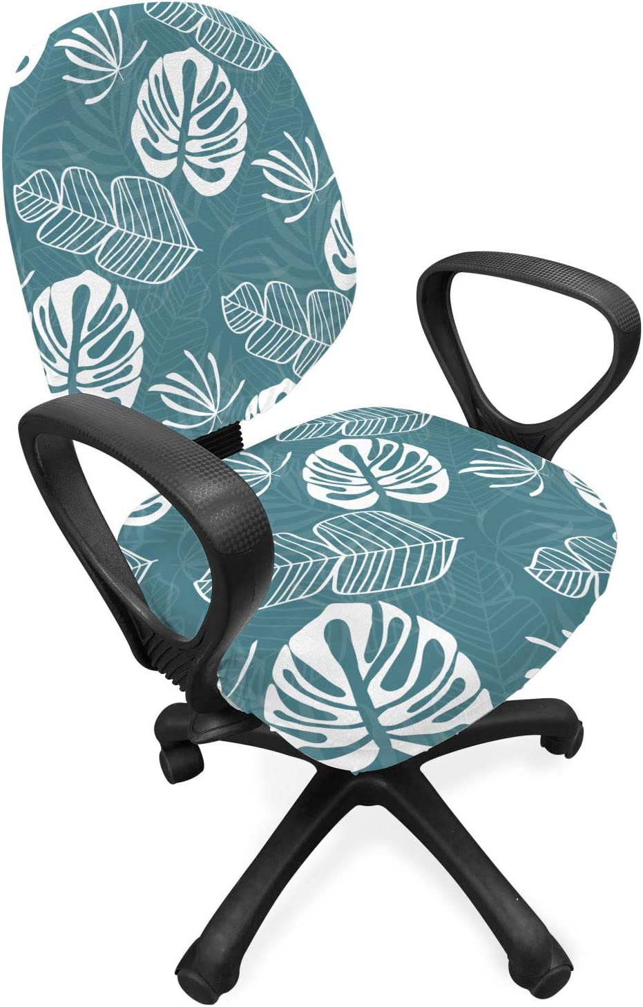 Lunarable Tropical Office Chair Slipcover, Banana Monstera and Palm Leaves Pattern Monochromatic Art Hawaiian Print, Protective Stretch Decorative Fabric Cover, Standard Size, Blue White