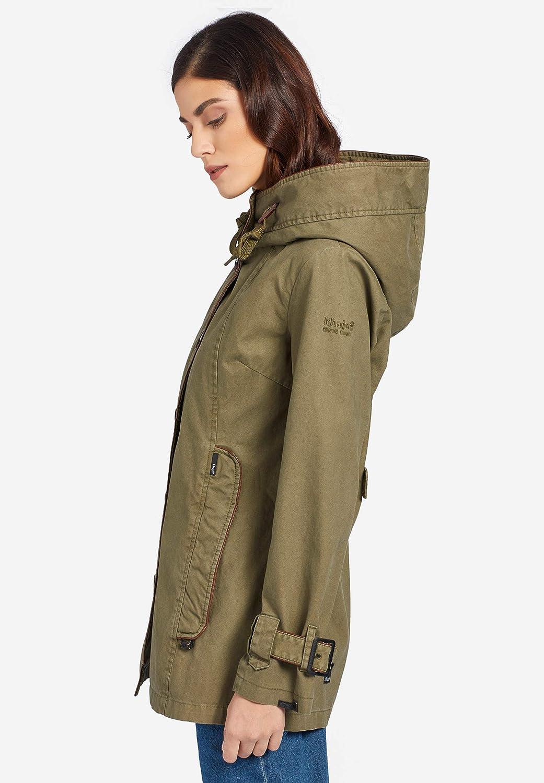 khujo Damen Jacke NUYDED2 Übergangsjacke aus Baumwolle mit Kunstlederpaspeln und großer Kapuze Oliv