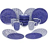 VANCASSO Porcelain Ceramic Dinnerware Set for 4 person, Blue Pattern Serving Set of Series Takaki with Cup Bowl Plates Platters for Family Dinner, Party, Feast, 16-Pieces, Blue
