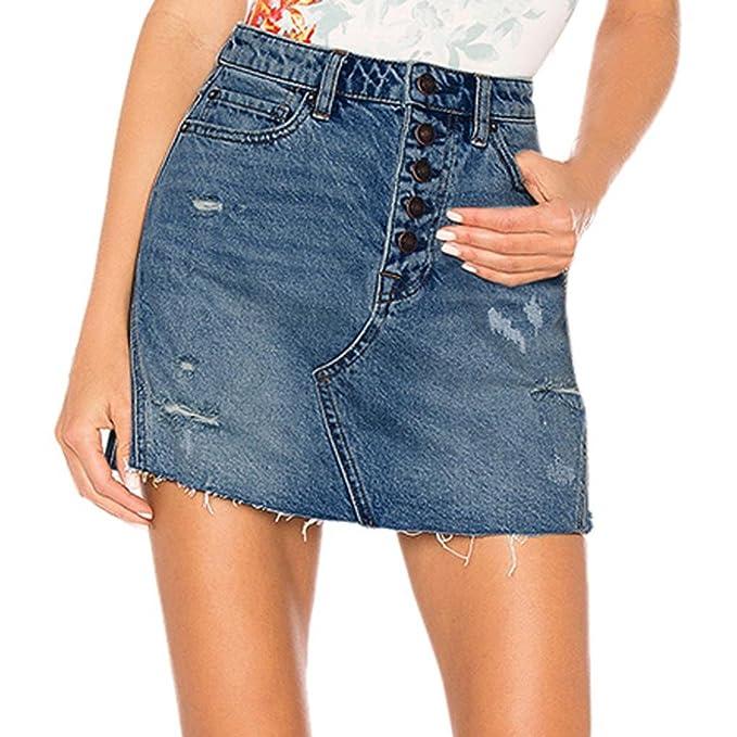 Mujer Falda Básica de Vaqueros Rotos lápiz Bodycon Mini Falda Jeans Sexy  Bolsillos Faldas Minifalda Corta 7ca172353e42
