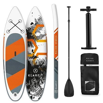 KLAR FIT Klarfit Tabla Paddle Surf Hinchable - MALIKO 305x10x77 cm Sup Surf, Paddleboard, Bomba de Aire, Pala, Correa de Seguridad, Mochila de ...