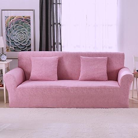 Funda elástica protectora y antideslizante de poliéster para sillones de 1, 2, 3 o 4 plazas, Rosa, 3 Seater:195-230cm