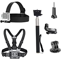 Vvhooy 3 in 1 Universal su geçirmez Action kamera aksesuarı Bundle Kit – Head Strap Mount/Brustgeschirr/selfie Stick Sport Action kamera için