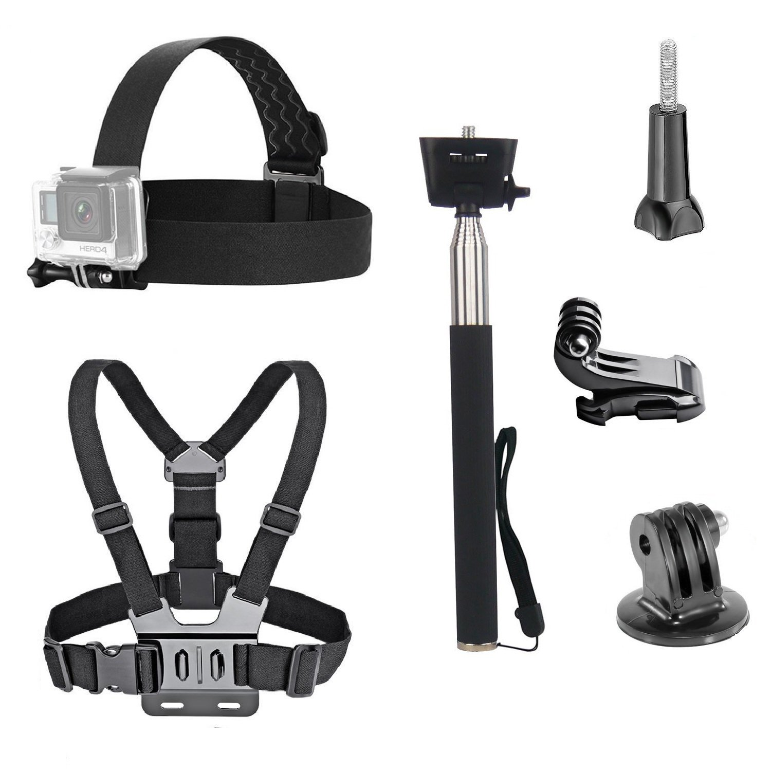 VVHOOY 3 in 1 Universal Waterproof Action Camera Accessories Bundle Kit - Head Strap Mount/Chest Harness/Selfie stick Compatible with Gopro Hero 7 6 5/AKASO EK7000/APEMAN/ODRVM/Crosstour Action Camera by VVHOOY
