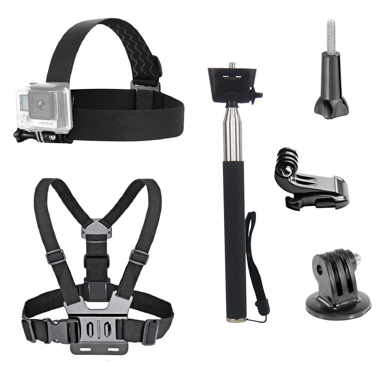 VVHOOY 3 in 1 Universal Waterproof Action Camera Accessories Bundle Kit - Head Strap Mount/Chest Harness/Selfie Stick Compatible for Gopro Hero 6 5/AKASO EK7000/APEMAN/ODRVM/Crosstour Action Camera