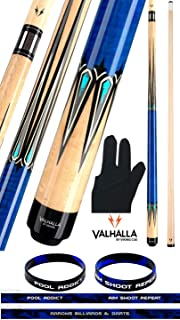 product image for Valhalla VA942 by Viking 2 Piece Pool Cue Stick, No Wrap Design, HD Graphic Transfers, Nickel Silver Rings, High Impact Ferrule, 18-21 oz. Plus Billiard Glove & Bracelet