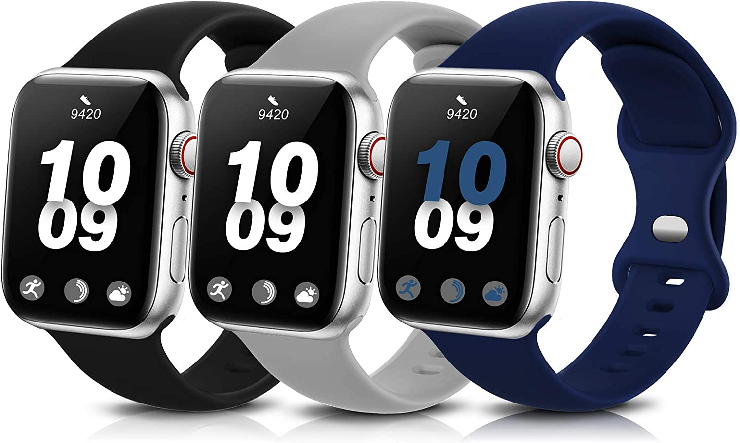 3 Pack Sport Band Compatible with Apple Watch Bands 38mm 40mm 42mm 44mm, Soft Silicone Replacement Compatible with iWatch Series 6 5 4 3 2 1 Women Men Black/Grey/Navy Blue 38mm/40mm S/M