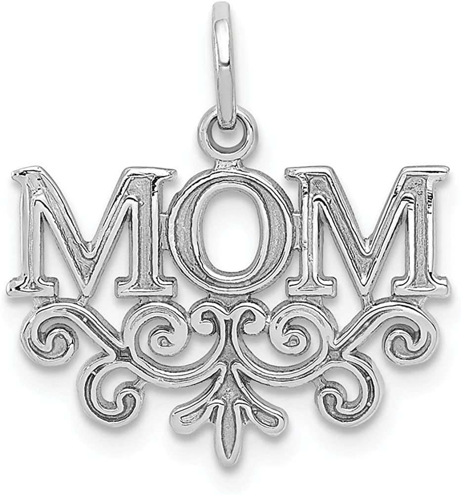 14k White Gold Mom Charm Pendant