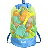 EocuSun Large Mesh Beach Bag Tote Durable Sand Away Drawstring Beach Backpack Swim and Pool Toys Balls Storage Bags Packs, Stay Away from Sand and Water, Toy Not Included