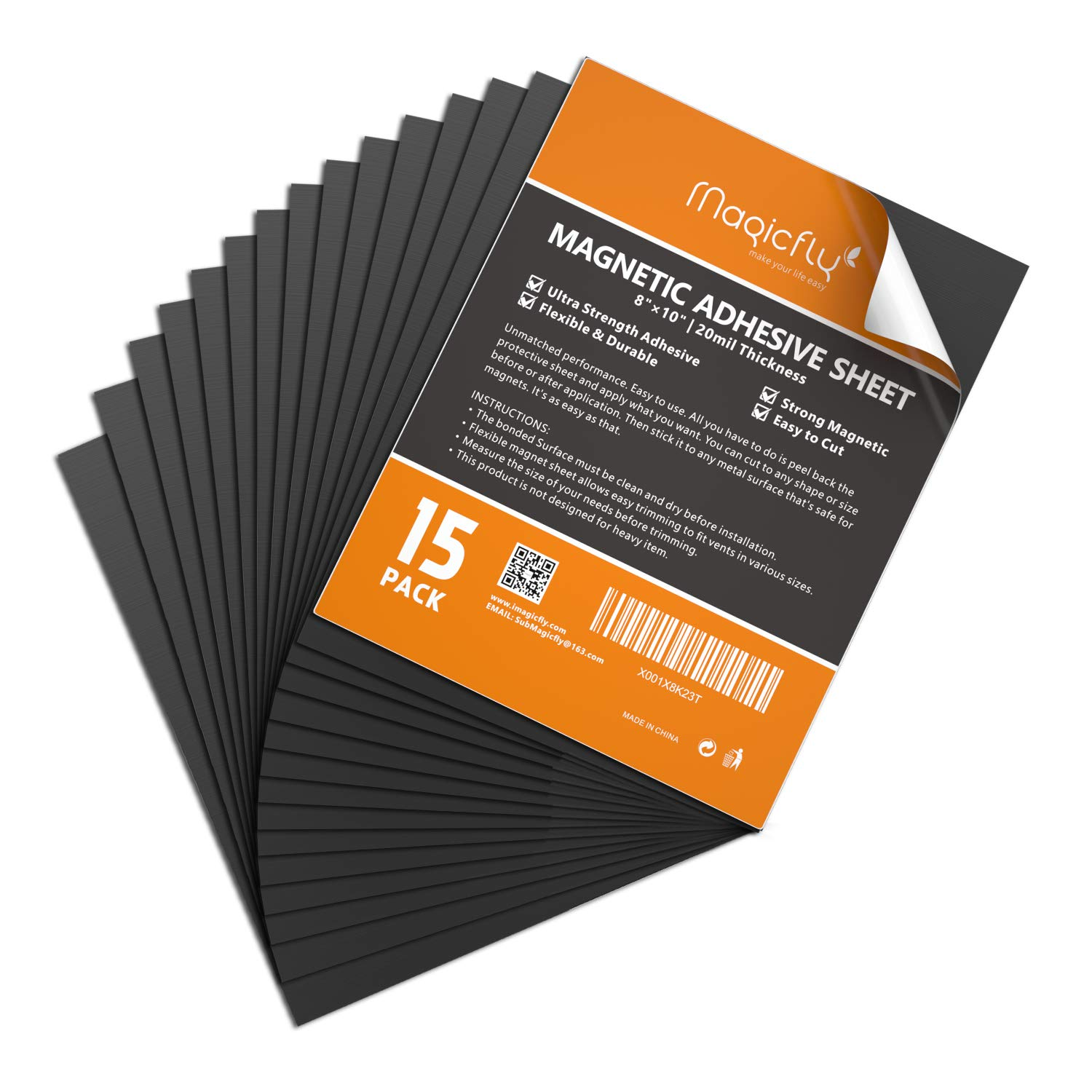 Premium Quality Peel and Stick Magnets by Flexible Magnets 50, 8.5 x 11 x 20 mil Self Adhesive Magnetic Sheets Make Anything a Magnet