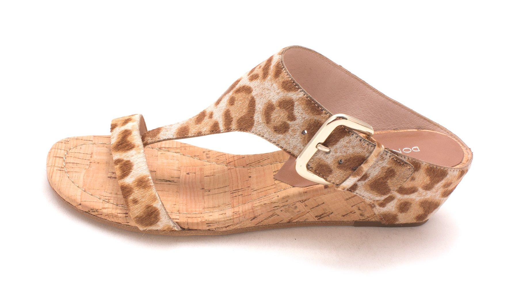Donald J Pliner Womens LI4-SG Leather Open Toe Casual T-Strap Sandals, Tan/Sand Summer Leopard, 7.0