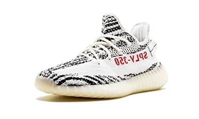 b0b95bf96b4 Image Unavailable. Image not available for. Color  adidas Mens Yeezy Boost  350 V2 Zebra White Black-Red Fabric Size 5