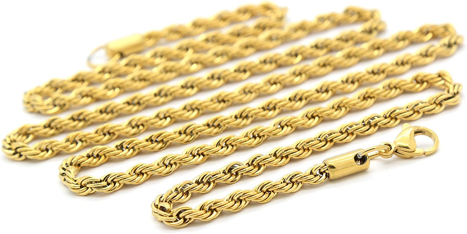 Mens Gold Tone Stainless Steel 20 5mm French Rope Link Chain Necklace