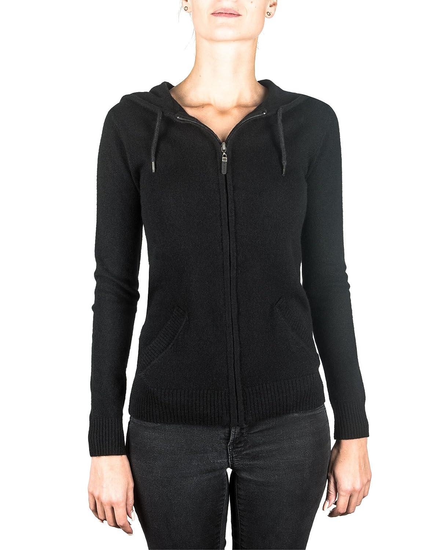 CASH-MERE.CH 100% Kaschmir Damen Kapuzenpullover   Hoodie mit Reißverschluss B014HAEFM2 Kapuzenpullover Reichhaltiges Design