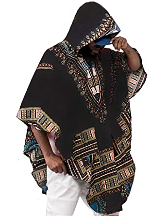 43b74dd900 Amazon.com: Daupanzees Mens African Print Dashiki Shirts Poncho Cape Hoodie  Sweatshirts Pullover Cloak: Clothing