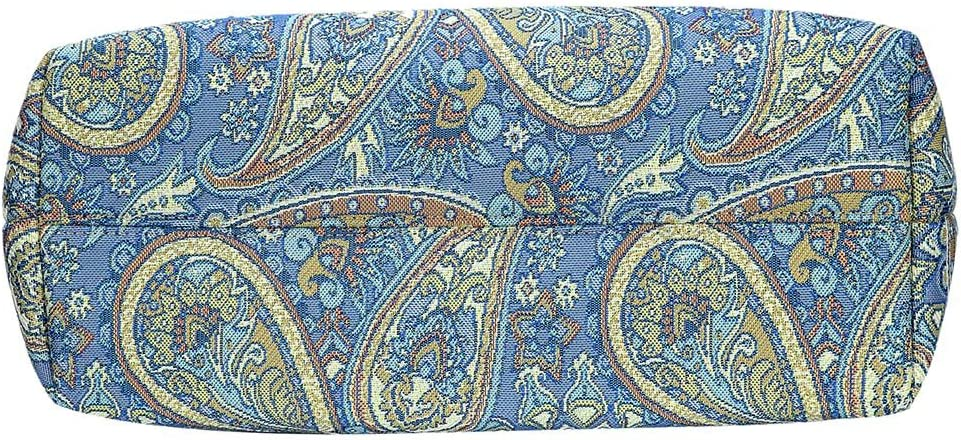 Paisley in Paradise Blue Shoulder Tote Bag by Signare//Floral Branded Tapestry Evening Side//COLL-PAIS