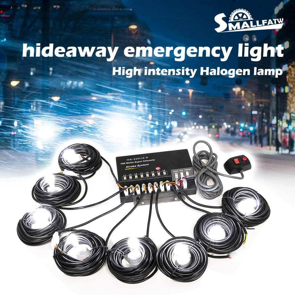White SmallFatW 8 HID Bulbs 160w Hide-a-way Emergency Hazard Warning Headlight Truck Strobe Light Kit System