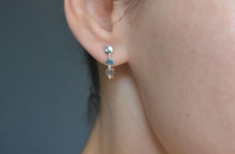 Sterling silver ear jacket earrings Tiny silver coin ear jacket dangle drop loop earrings double sided post earrings front back