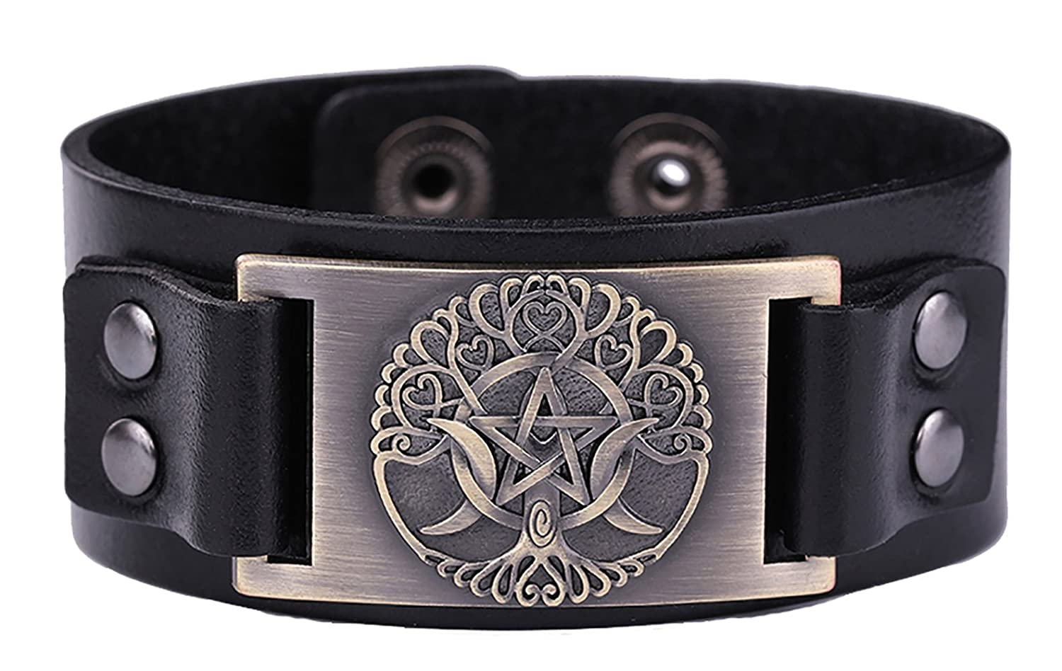 Dawapara Religious Pagan Triple Moon Goddess Pentagram Tree of Life Metal Cuff Leather Bracelet for Men/Women Antique Bronze) YiYou