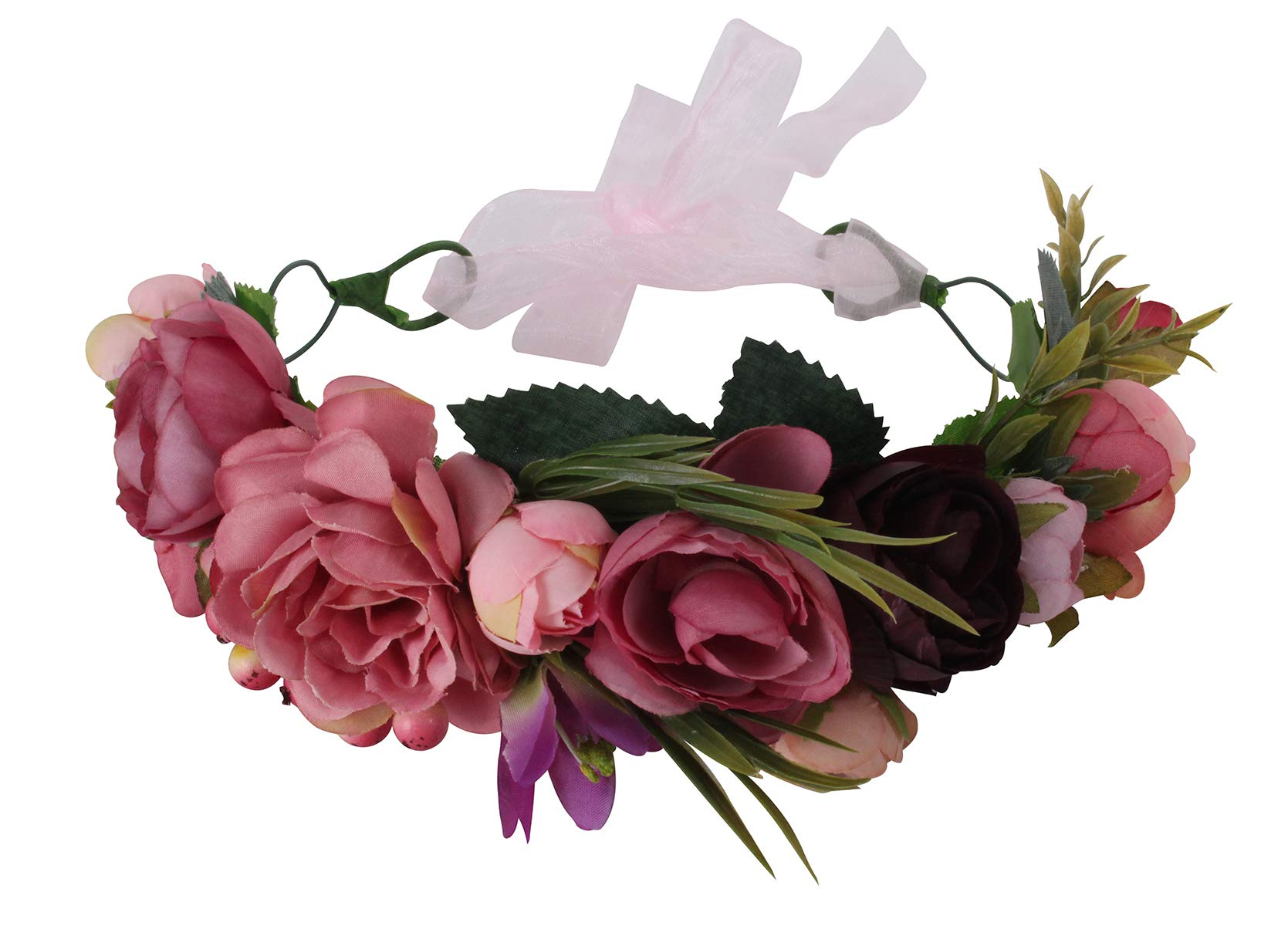Felizhouse Flower Crown Headband Women Girls Bridal Wedding Floral Headpiece