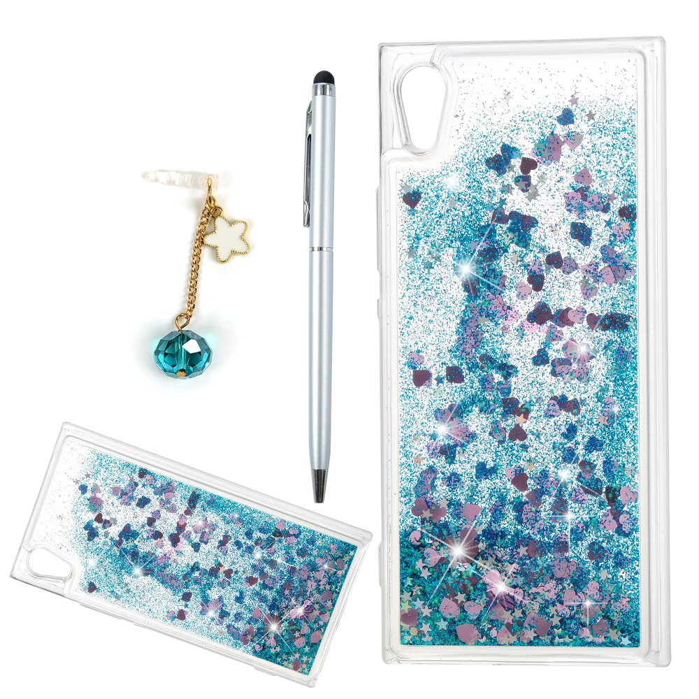 Sony Xperia XA1 Case,Badalink Sparkly Bling Dynamic Flowing 3D Glitter Fantasy Shiny TPU Silicone Bumper Shock Absorption Anti-Scratch Grip Flexible Skin Cover for Sony Xperia XA1 with 1 Dust Plug & 1 Touch Pen,Blue
