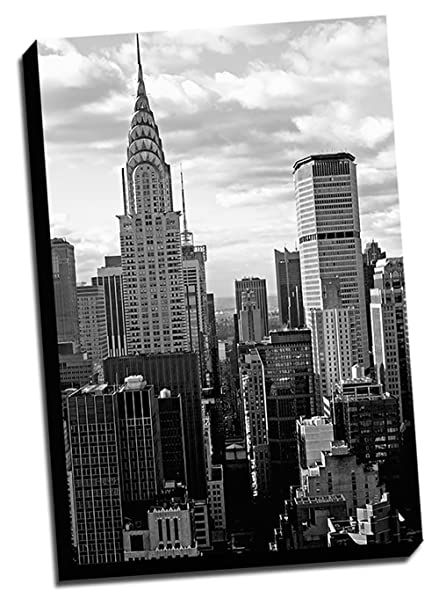 Black U0026 White New York City Canvas Wall Art 24x36 Stretched Onto A  1.5u0026quot; Thick