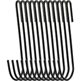 RuiLing 12-Pack 4.2 Inches Black Antistatic coating Steel S hook Cookware Universal Pot Rack Hooks Sturdy Hanging Hooks - Multiple uses for Kitchenware, Pots, Utensils, Plants, Towels