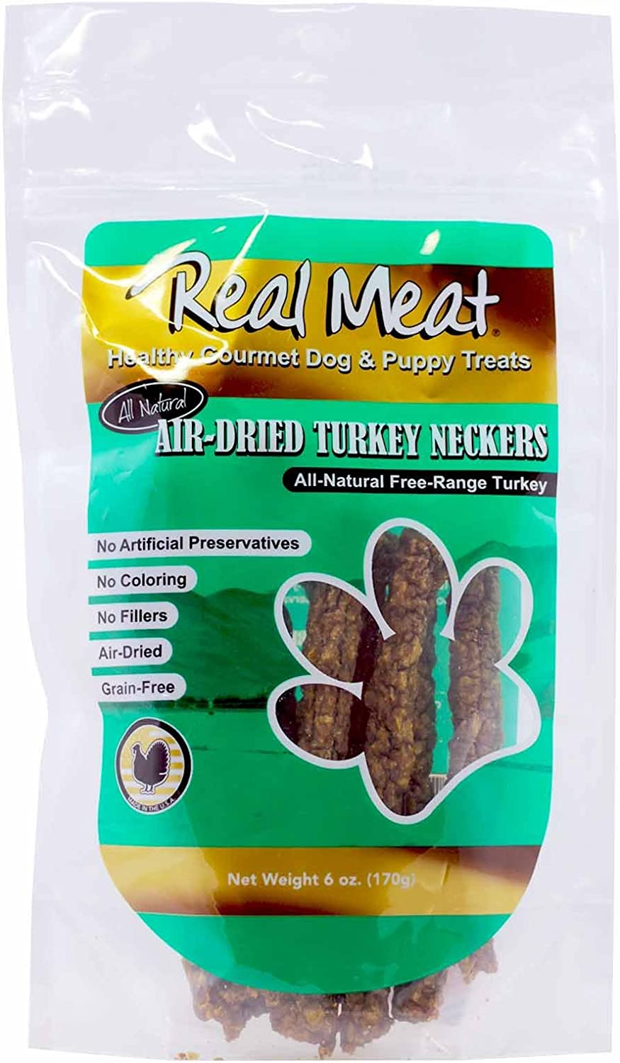 Real Meat All Natural Air Dried Turkey Neckers Dog Treats, 6 Ounces Per Pack