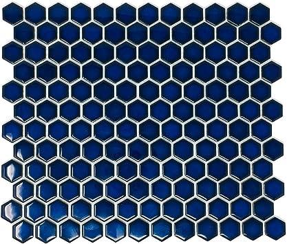 hexagon cobalt blue porcelain mosaic tile glossy look 1 inch box of 10 sheets floor and wall tile backsplash tile bathroom tile on mesh for