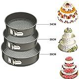Kurtzy® Round Shaped Springform Non Stick Baking Pan tin for wedding Birthday cakes pie pudding desserts Molds Bakeware(set of 3)