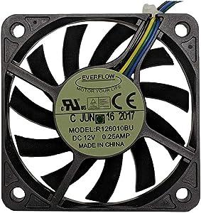 Everflow 60x60x10mm 12 Volt DC Fan with PWM Function, Model R126010BUAF
