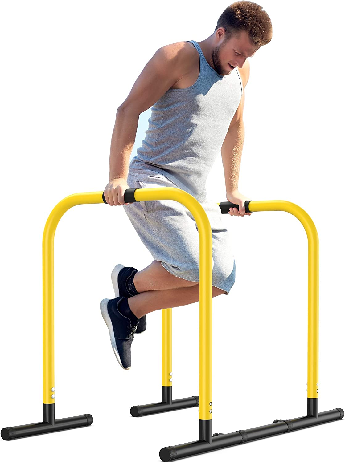 EveryMile Dip Stand Station, Adjustable Dip Bar with Safety Connectors, Heavy Duty Strength Training Parallel Bar for Full Body Workout, Pull up, Push up, L-Sits Home Gym Outdoor Bar Exercises