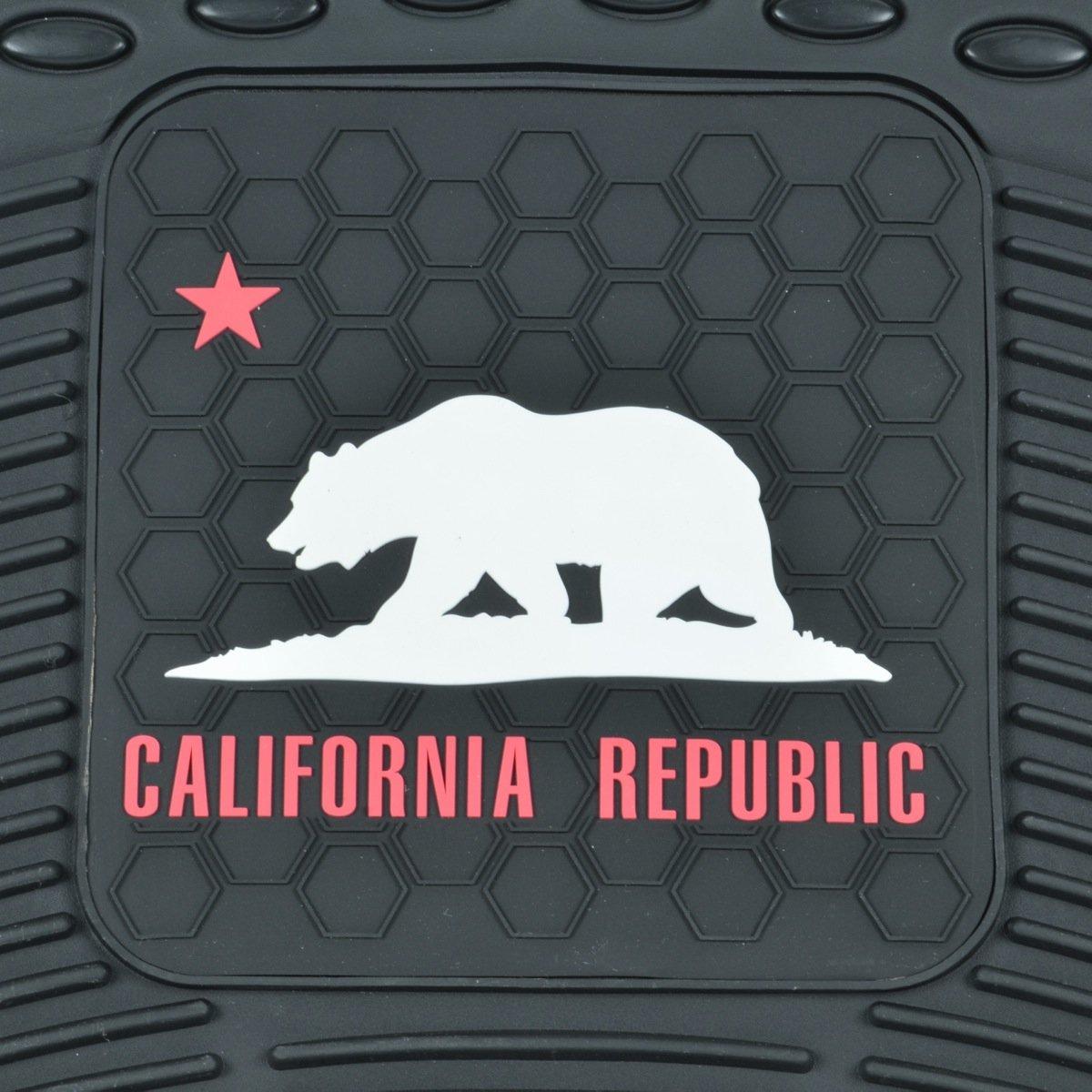 California Rubber-4 Pieces Cal Bear, Heavy Duty All Weather Mat BDK MT-811+MT-802-BK Black Floor