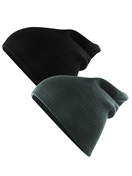 Amazon.com  Unisex Boys  Warm Winter Slouchy Beanie Soft Stretch Cotton Cap  Thick Knitted Hat for Boys Girls 2 Pack Soft Black Grey  Clothing be7058f7715