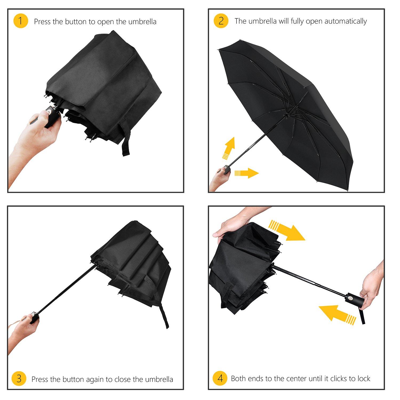 Gritin Parapluie Pliable Automatique Coupe-vent avec 9 Baleines 210T Tissu Compact Parapluie de Voyage Ouverture et Fermeture Automatique Poign/ée Antid/érapante pour Homme et Femme Parapluie Pliant