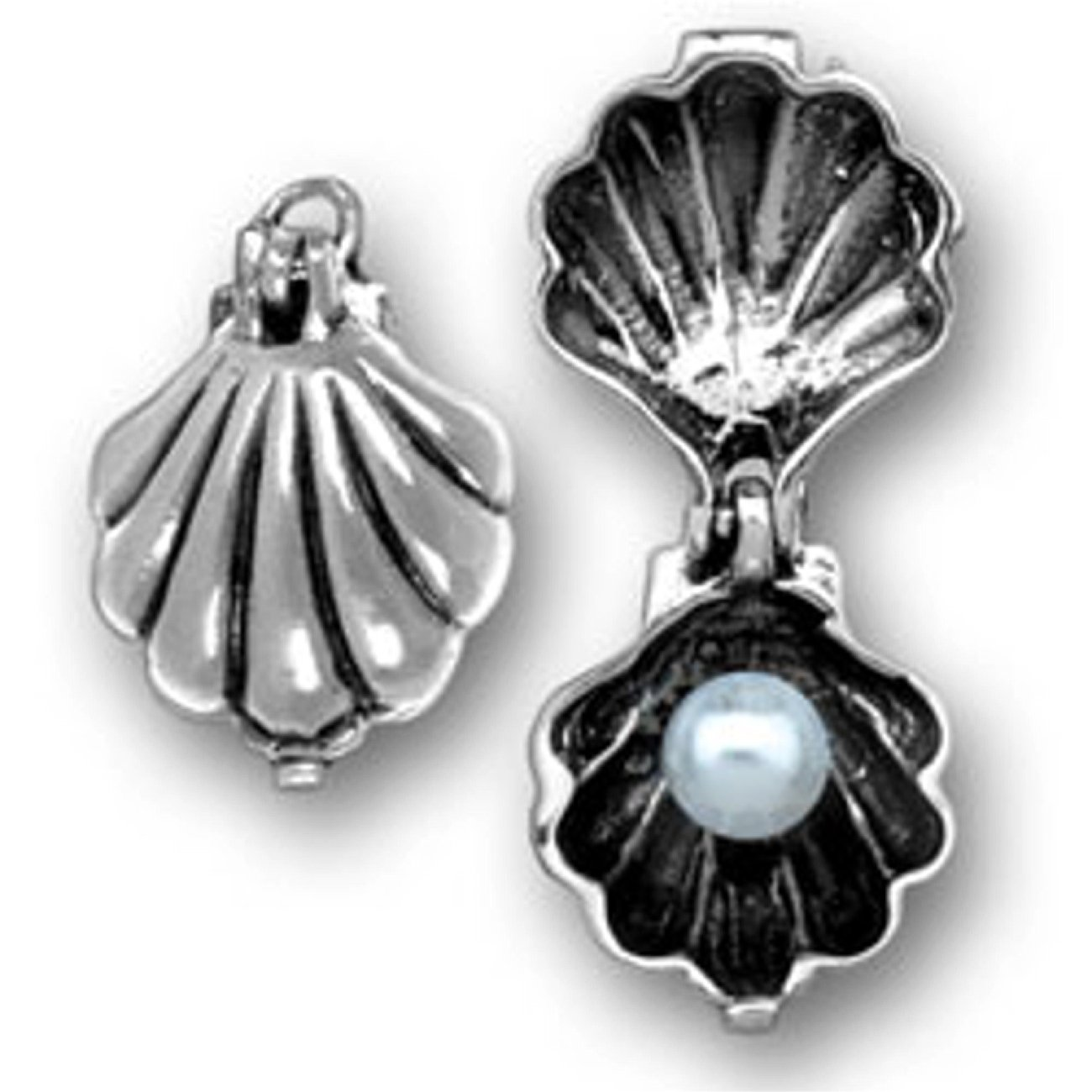 Sterling Silver Womens 1mm Box Chain 3D Opening Clam Shell Simulated Pearl Pendant Necklace