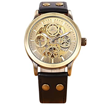 SHENHUA Antique Men Retro Bronze Case Genuine Leather Belt Mechanical Wristwatch Male Automatic Skeleton Watches